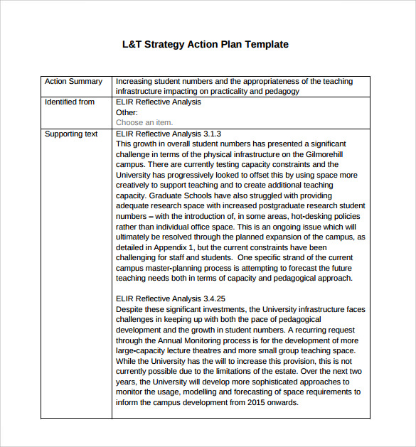 Sample Strategic Action Plan   Documents In Pdf Word