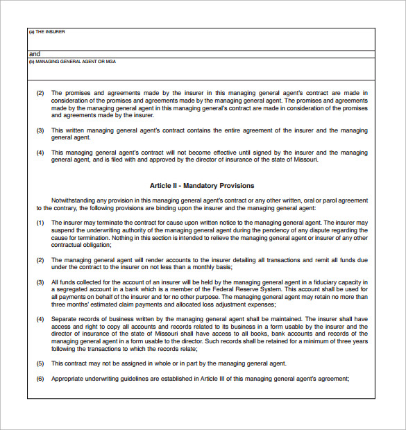 Agent Contract Template 9 Download Free Documents in PDF Word – Agent Contract Agreement