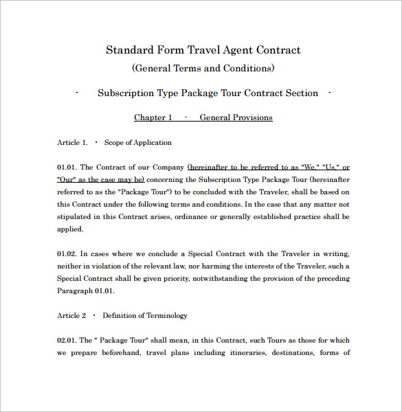 travel agent contract template