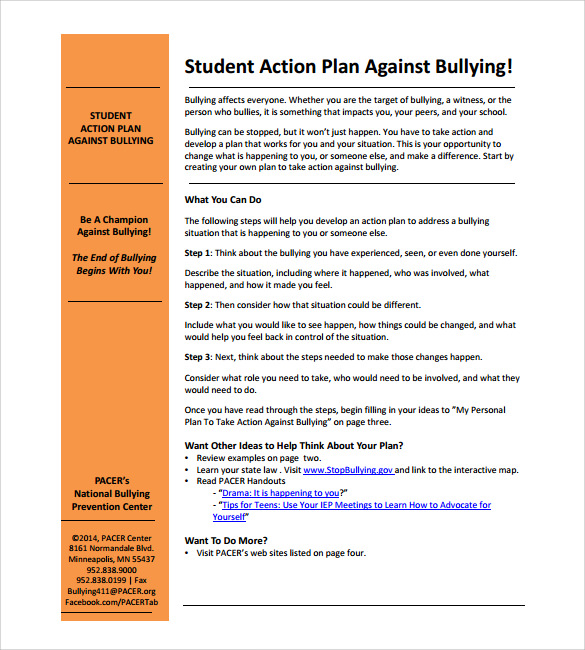 Sample Student Action Plan Documents In Pdf
