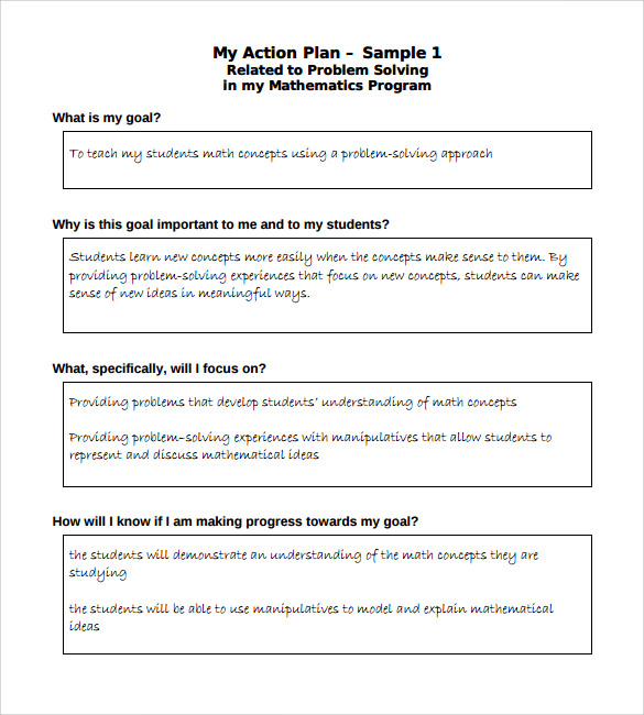 elementary student action plan template