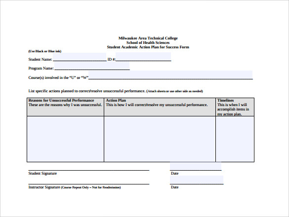 7 sample school action plans sample templates for Student retention plan template
