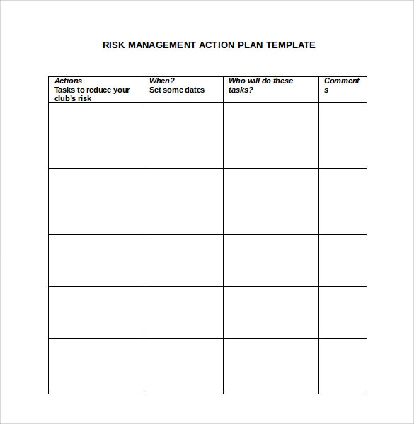 Sample Management Action Plan Template   Documents In Pdf  Word