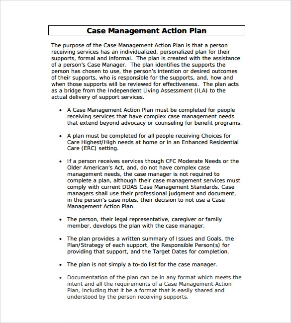 sample management action plan template