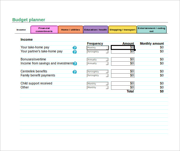 Monthly Budget Planner in Excel