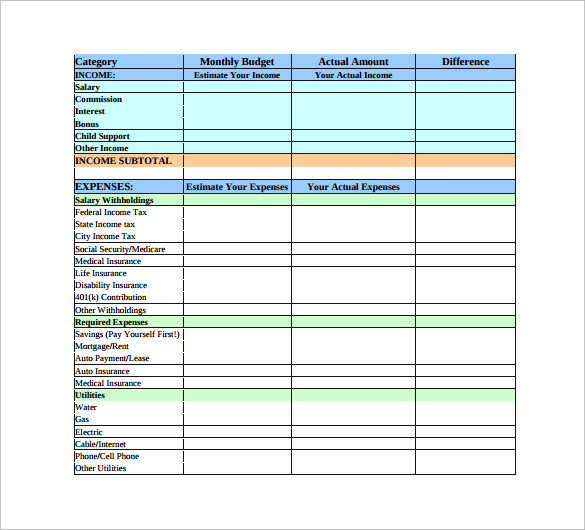 adult monthly budget planner