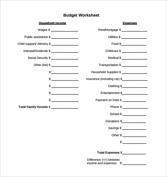 family budget calculator free download
