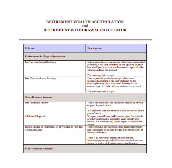 Sample Retirement Withdrawal Calculator 9 Documents in PDF – Retirement Withdrawal Calculators