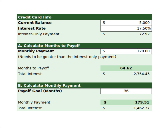 sample credit card payoff calculator