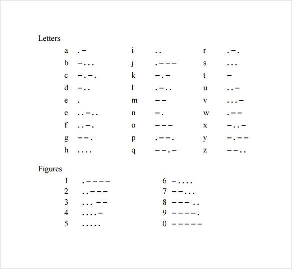 simple morse code alphabet chart