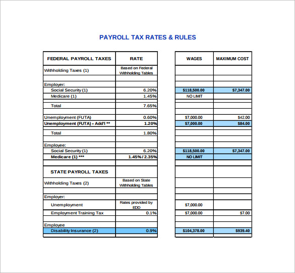 Sample Payroll Tax Calculator   Free Documents In Pdf Excel