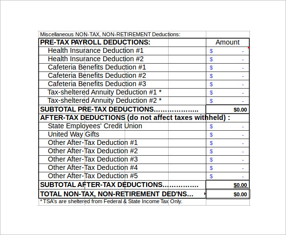 Sample Net Pay Calculator   Documents In Pdf Excel