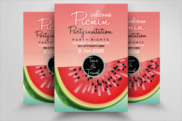picnic party flyer template