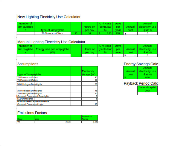 electricity use savings account calculator