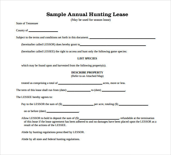 Sample Hunting Rental And Lease Form   Download Free Documents