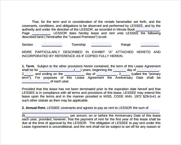 Sample Hunting Rental and Lease Form 7 Download Free Documents – Download Lease