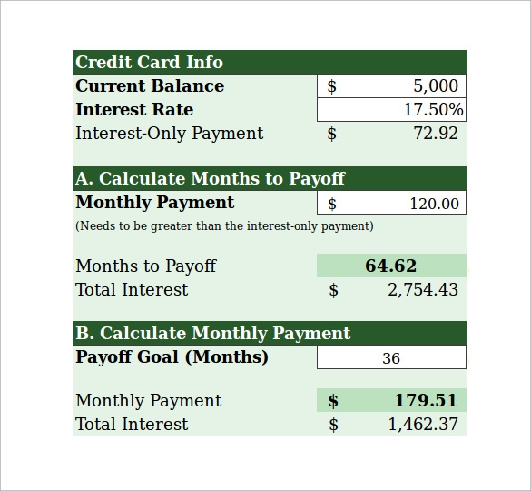 credit card calculator payments