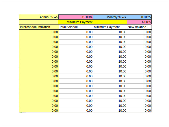 Sample Credit Card Payment Calculator   Documents In Excel
