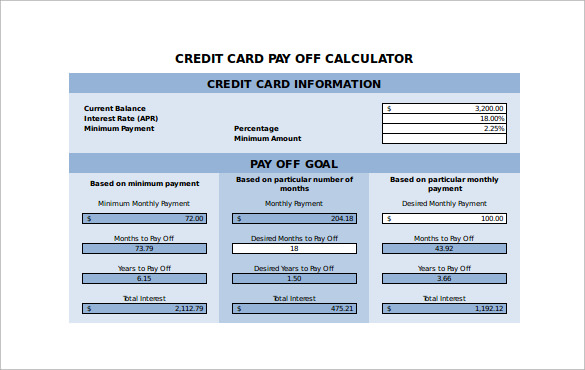 sample credit card payment calculator