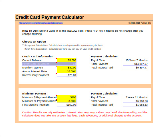 credit card payment calculator