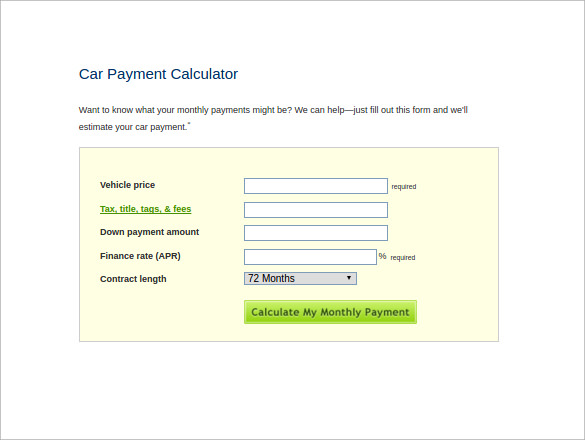 Sample Car Loan Calculator   Free Documents In Excel