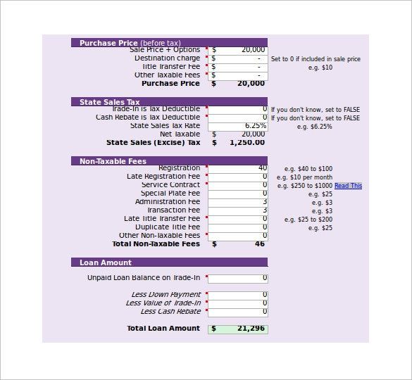 Sample Auto Payment Calculator - 5+ Documents In Pdf, Excel