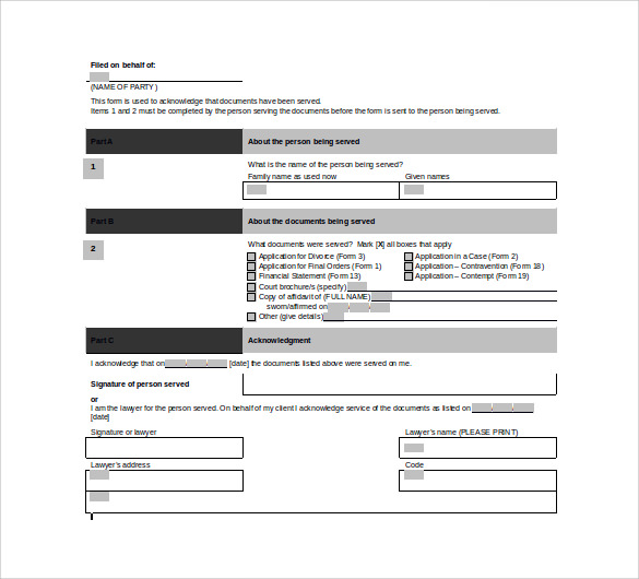acknowledgement of service form doc