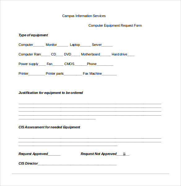 13 computer service request form templates to download for Equipment order form template