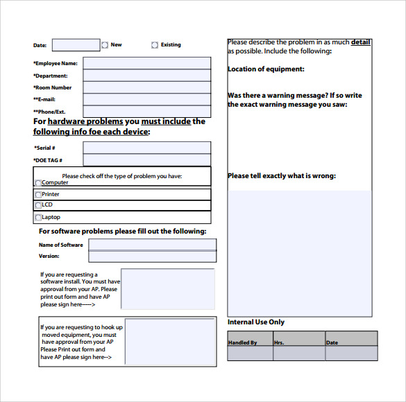 Sample Computer Service Request Form - 12+ Download Free Documents