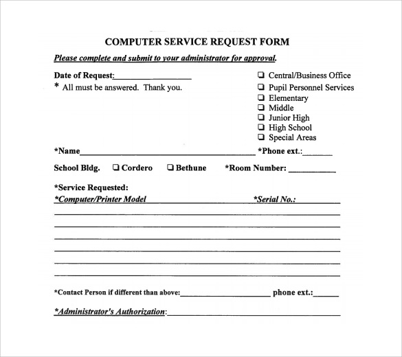 Sample Computer Service Request Form 12 Download Free Documents – Request Form