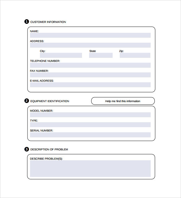 Sample Computer Service Request Form   Download Free Documents