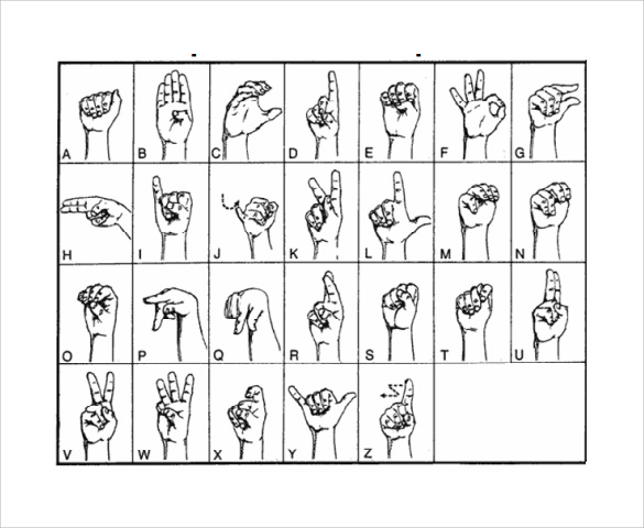 Sample Sign Language Alphabet Chart   Documents In Pdf Word