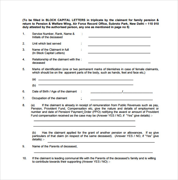 Sample Pension Service Claim Form   Download Free Documents In