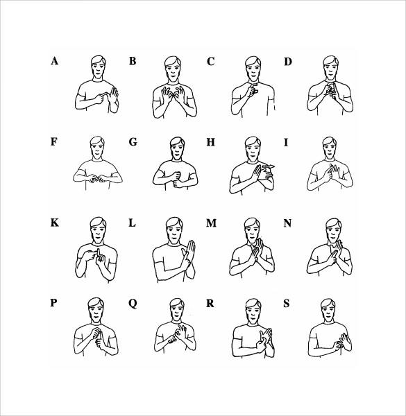 sign language alphabet pdf 10  Sample Sign Language Alphabet Charts   Sample Templates