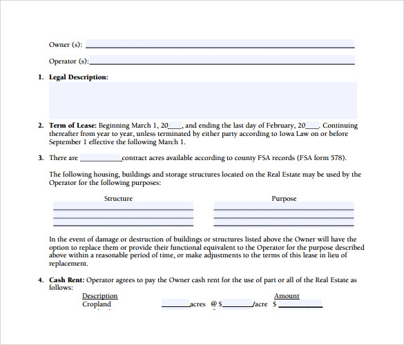 Sample Land Rental And Lease Form   Download Free Documents In