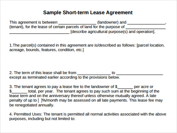simple land rental and lease form