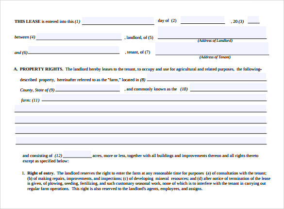 land rental and lease form download