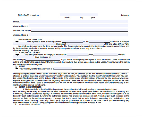 Sample Real Estate Rental And Lease Form   Download Free