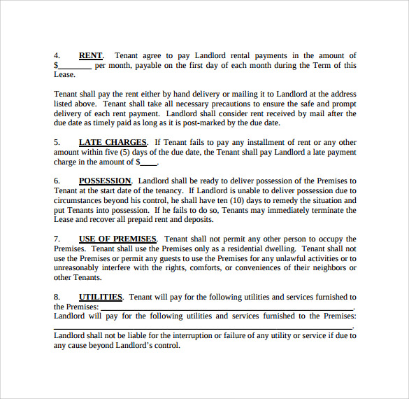 Rent Lease Form Printable Rental Lease Agreement Printable Rental