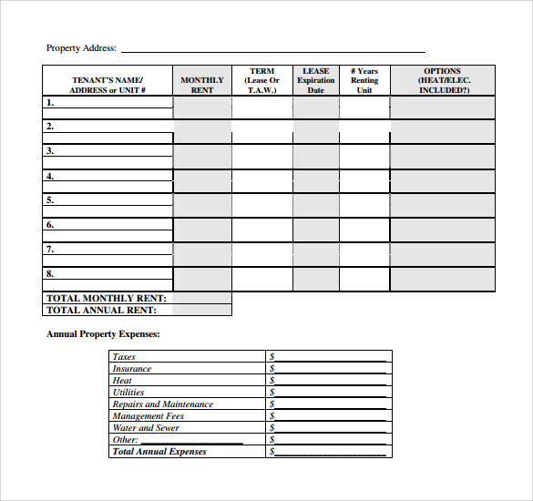Sample Rent Roll Form   Download Free Documents In Pdf Word