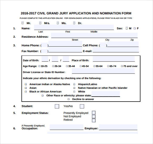 civil grand jury service application form