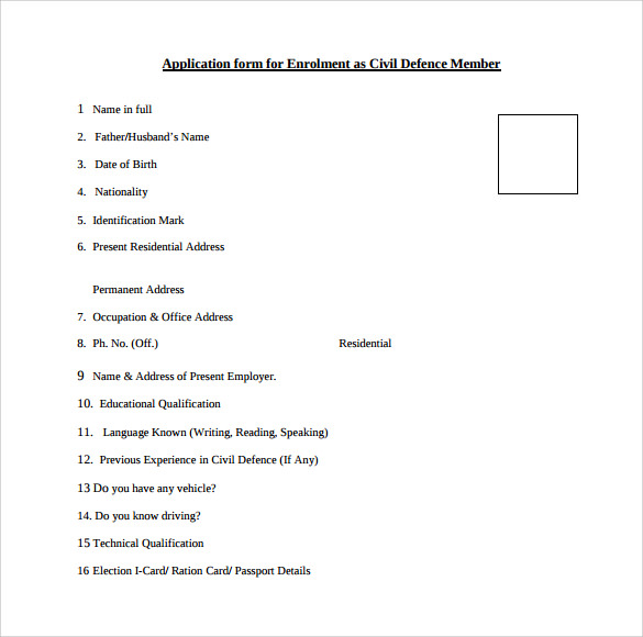 civil defence member service application form