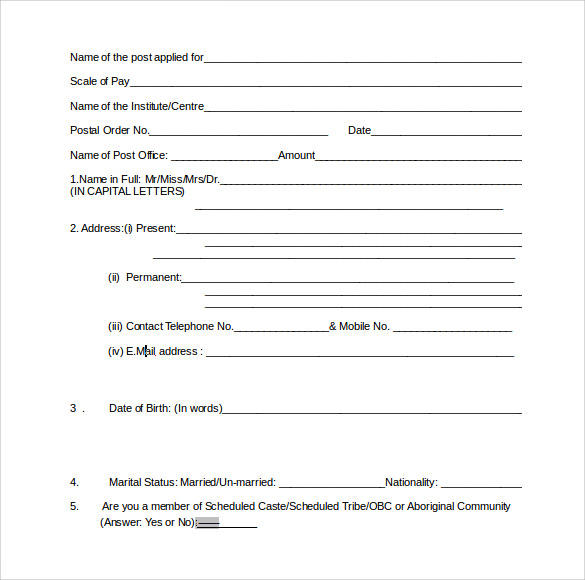 scientific service application form