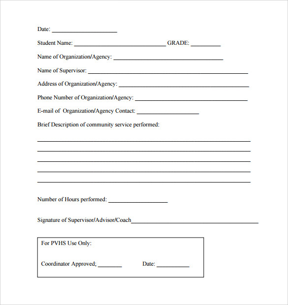 Sample Service Hour Form - 13+ Download Free Documents In Pdf, Word
