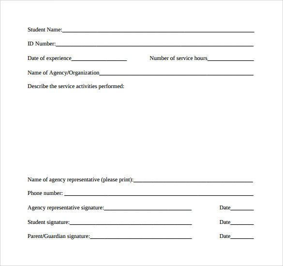 sample service hour form