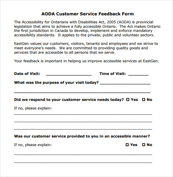 Sample Service Feedback Form   Download Free Documents In Pdf