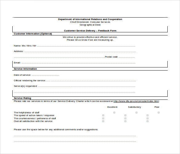 Sample Service Feedback Form - 11+ Download Free Documents In Pdf