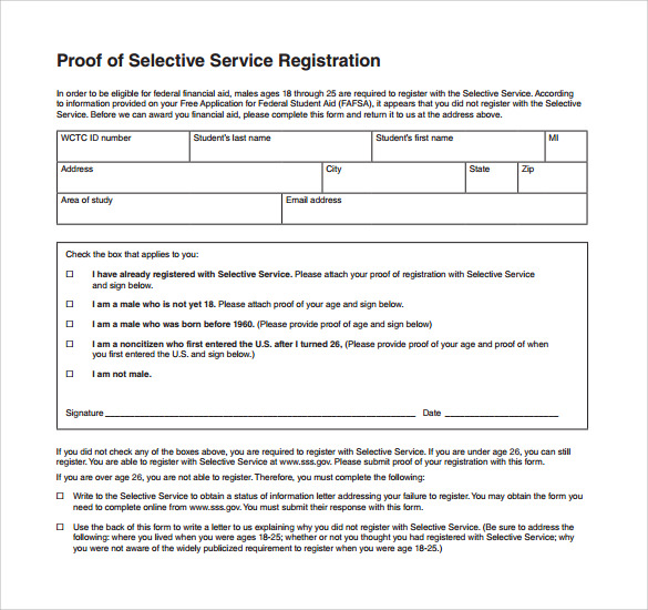 Sample Selective Service Registration Form - 13+ Download Free