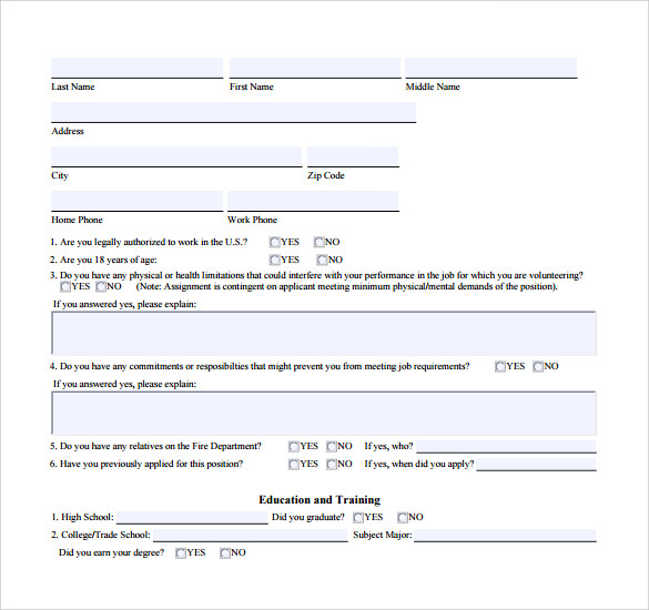 fire service member application form