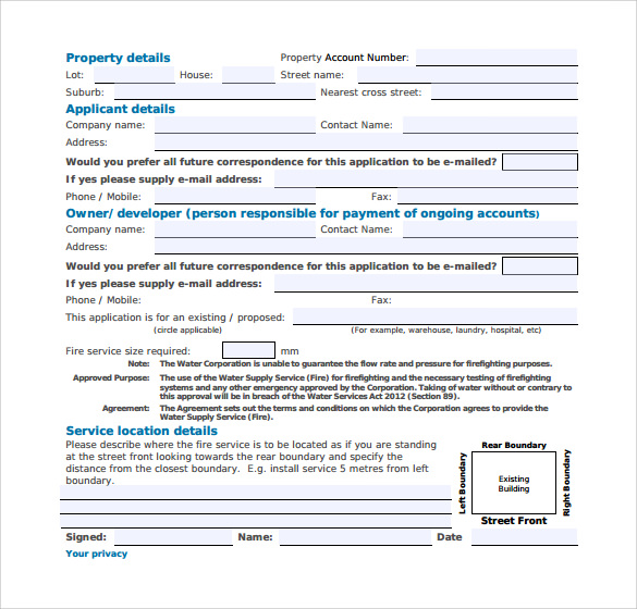 fire water service application form